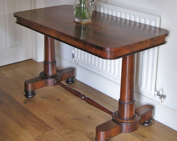 Regency or William IV Rosewood Library Table with End Supports