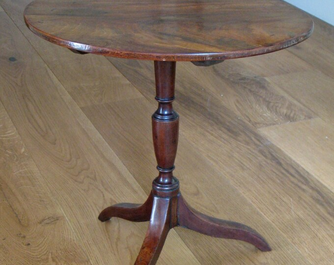 Small 19thC Mahogany Oval Top Table on Fruitwood Tripod Base