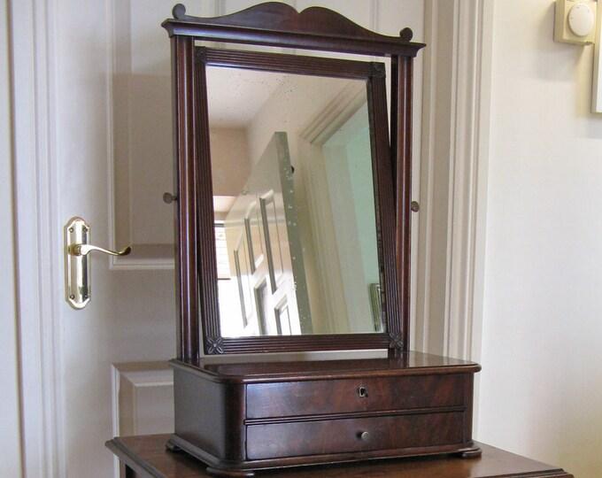 French 2nd Empire Mahogany Gentleman's Shaving Mirror