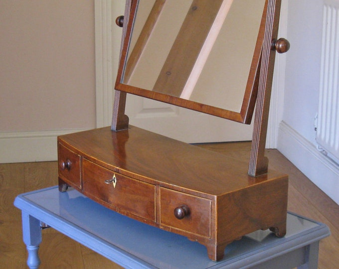 Georgian Mahogany Toilet or Dressing Mirror on Bow-Fronted Base