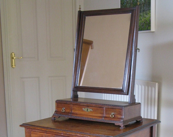 Early Victorian Mahogany Swing Dressing Mirror on Ogee Box Base