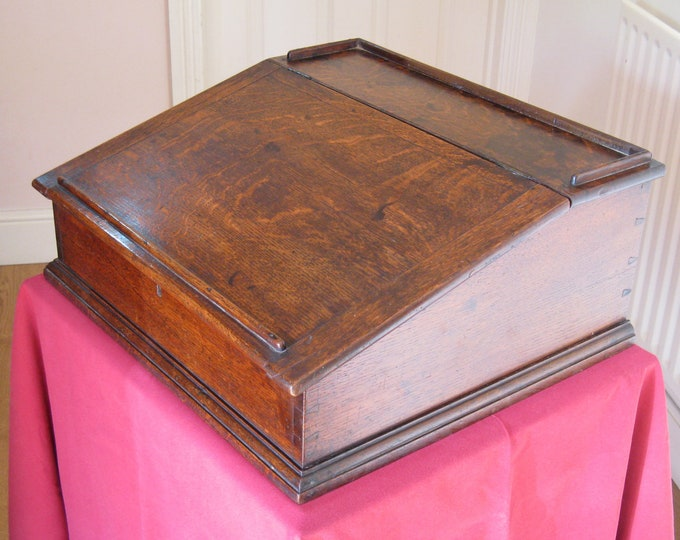 19thC Oak Clerk's Table-Top Writing Slope with Storage Box