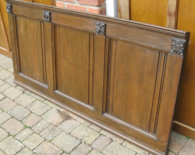 Early 20thC Solid Oak Panelled & Hand-Carved Wall-Mounted Bedhead