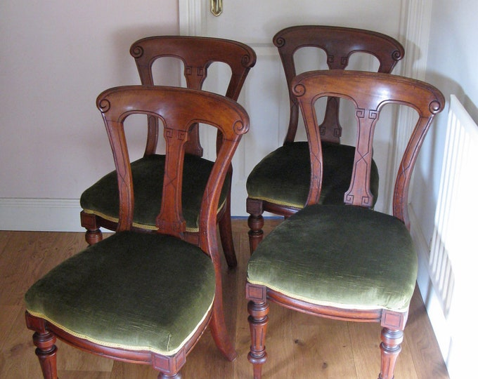 Set of 4 x Late Victorian Mahogany Balloon Back Dining Chairs