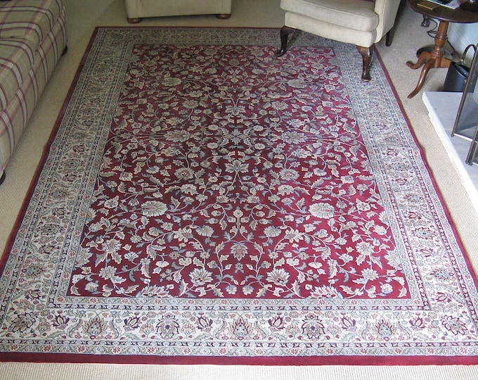 Vintage Late 20thC Belgian Machine-Made Persian Style Red Rug