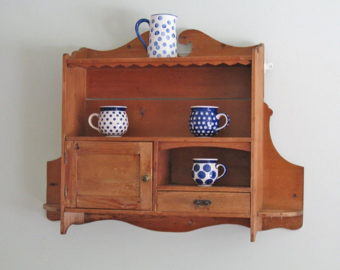 Victorian Pine Wall-Hung Kitchen Cabinet & Shelves