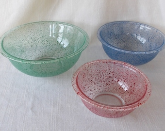 Pyrex Paint Splatter Speckle Mixing Bowl Set, Vintage