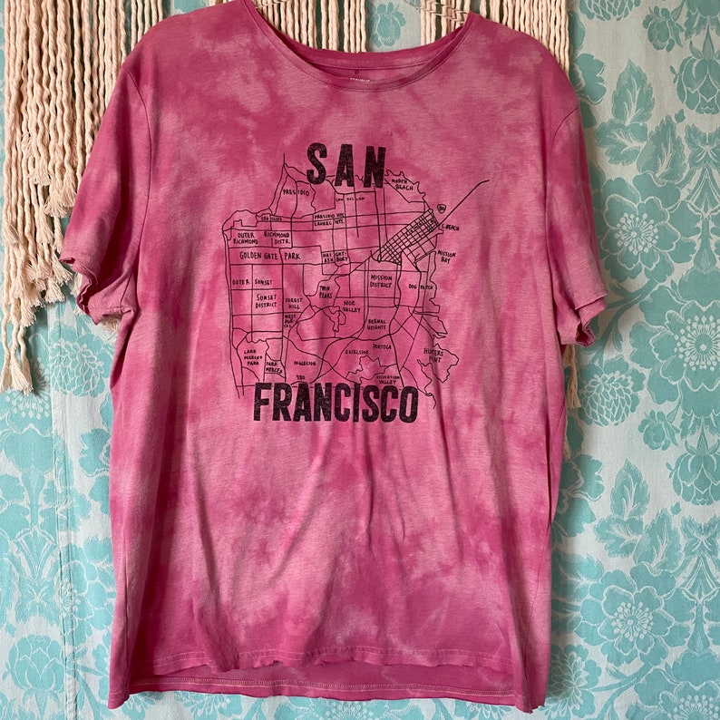 KLC Unisex XL \u201cSan Francisco\u201d Distressed Hand Dyed Graphic Tee Hand Painted Reverse Dyed \u201cChromatic\u201d Collection\u201d Bleach Dyed