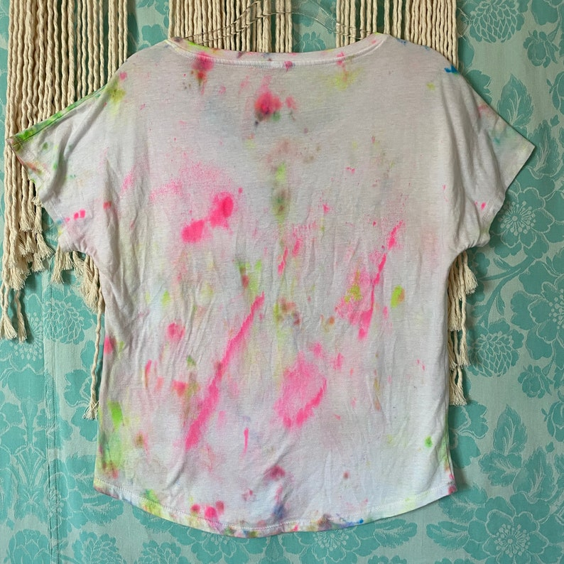 Hand Painted \u201cNeon Nation\u201d Collection Opal KLC Medium Multi Colored \u201cCant Workout With Us\u201d Graphic Tee Hand Dyed