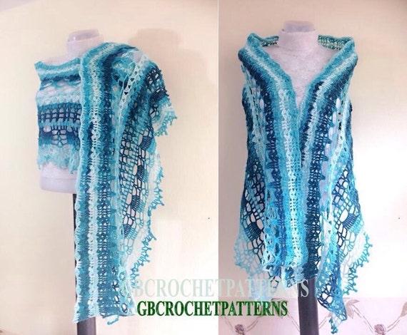 Crochet Pattern Lace Shawl Ocean Shawl Crochet Pattern Wrap Etsy