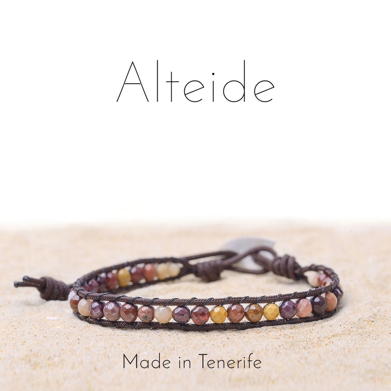 man woman Alteide Bracelet Monta\u00f1a roja 1 wave surf inspired 925 Silver Mookaite made in Tenerife