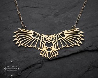 Owl necklace owl pendant geometric origami bird necklace