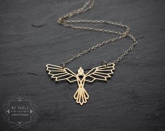 Bird necklace phoenix necklace phoenix pendant fantasy necklace phoenix dragon necklace geometric necklace phoenix jewelry bird pendant