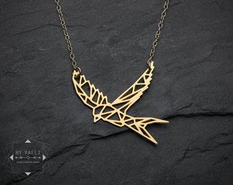 Bird necklace bird jewelry sparrow necklace swallow necklace bird pendant animal necklace bird charm geometric bird geometric necklace