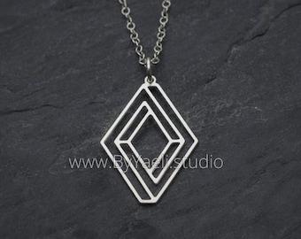 Silver escher style infinity necklace dainty minimalist  geometric necklace teacher gift