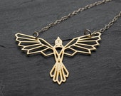 Phoenix necklace origami necklace gold origami bird necklace geometric necklace phoenix pendant