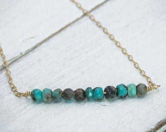 Turquoise Beaded Bar Necklace in Sterling Silver or 18K Gold Filled