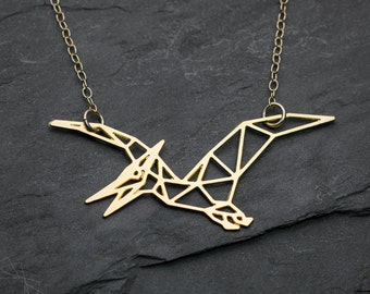Dinosaur Necklace dinosaur geometric necklace origami dragon necklace minimalist jewelry gift for women minimalist necklace statement