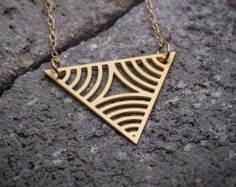 Geometric necklace gold triangular pendant Triangle necklace triangle pendant unique necklace gift for her minimalist jewelry