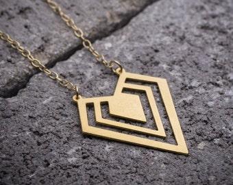 Geometric necklace, triangle necklace, diamond shape necklace