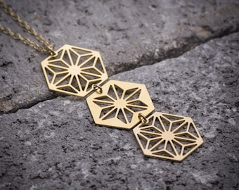Geometric necklace hexagon necklace hexagonal necklace long necklace unique necklace everyday necklace dainty necklace gift for her