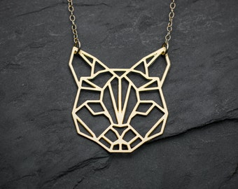 Cat necklace cat lover gift geometric necklace origami necklace cat gift minimalist jewelry origami jewelry cat jewelry origami minimalist