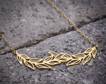Leaf necklace nature jewelry leaves layered necklace dainty necklace gift for mom bohemian jewelry gift for her delicate necklace