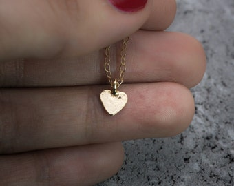 Gold necklace, tiny heart necklace, love necklace, dainty necklace, gold heart pendant, gold heart charm, gift for her.