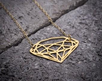 Geometric necklace, diamond shape pendant.