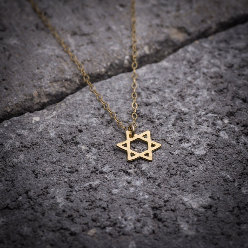 Gold necklace Magen David necklace dainty necklace statement image 0