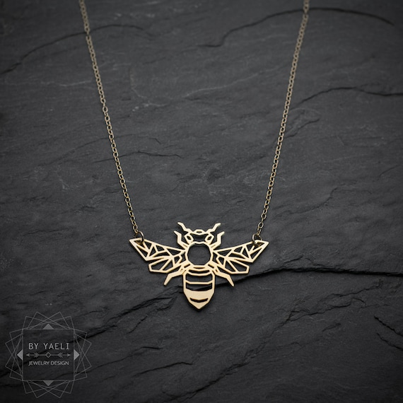 Bee Necklace Origami Necklace Honey Bee Necklace Bee Jewelry Etsy