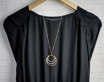 Geometric necklace triple gold circles necklace gold necklace minimalist necklace everyday necklace unique necklace gift for her