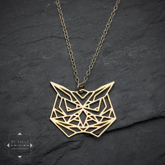 Owl Necklace Origami Necklace Geometric Necklace Owl Pendant Etsy
