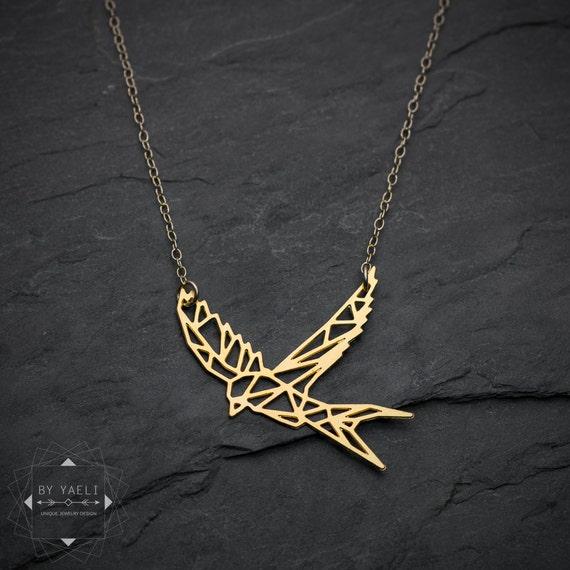 Origami Necklace Bird Necklace Sparrow Necklace Swallow Etsy
