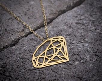 Geometric Diamond shape necklace, minimalist jewelry