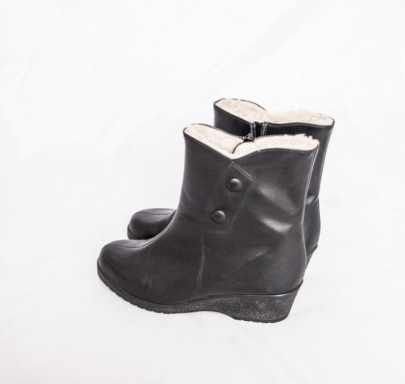 aea2384c6e95d1 60s Lammfell Stiefel Leder Ankle Boots schwarz 38