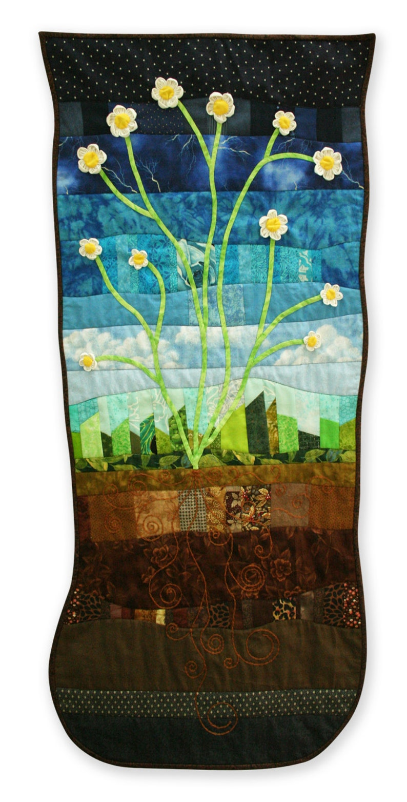 Scrappy Wild Daisies Floral Landscape Wall Hanging image 0