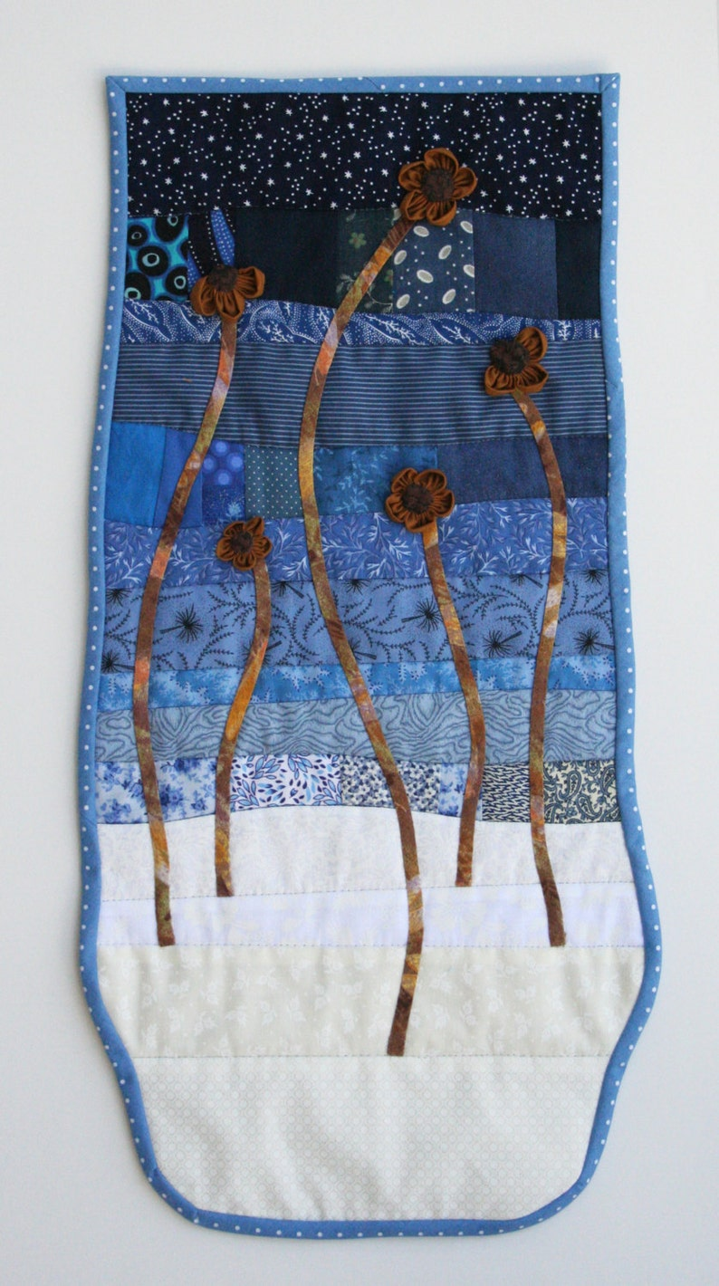 Scrappy Winter Floral Landscape Wall Hanging image 0