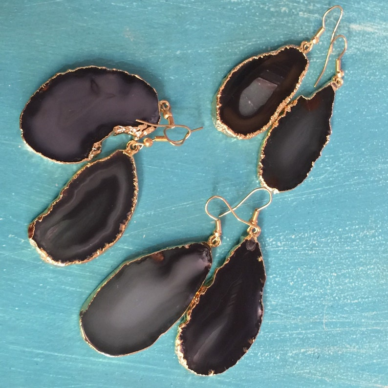 Silver or Gold Plated Black Agate Earrings  Gold Plated Agate Earrings  Boho  Gypsy