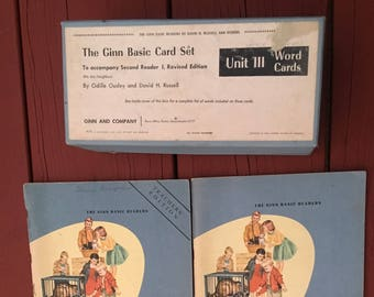 WORD FLASH CARDS  Ginn Basic Readers 4 Books and Basic Reader Card Set 1964 We Are Neighbors Ousley and Russell