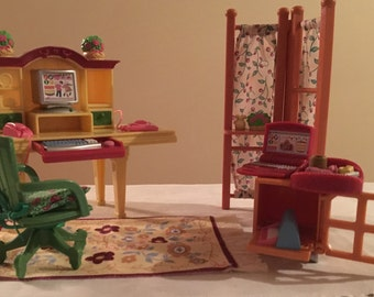 LOVING FAMILY Dollhouse Home Office/Computer Room Fisher Price