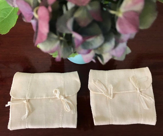 TWO Antique Infant SWADDLING Cloths with Ties Late