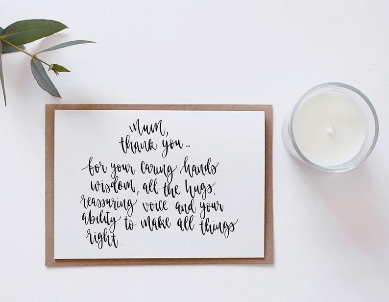 Des Minimal Maman» Mots «merci À Simple Votre Noir Calligraphie Style Aimables Mères Lettrage La Main Design Maman Pour Fête Type Carte EeYW29DHI