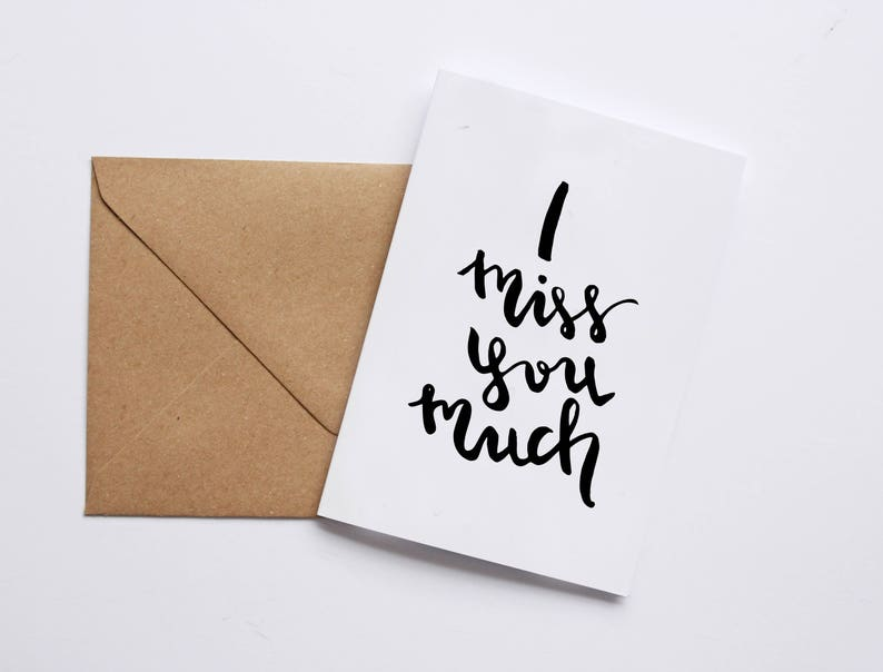 I Miss You Much Hand Lettering Black Brushpen A6 Love Friendship Greeting Card Modern Font Minimalist Style Print