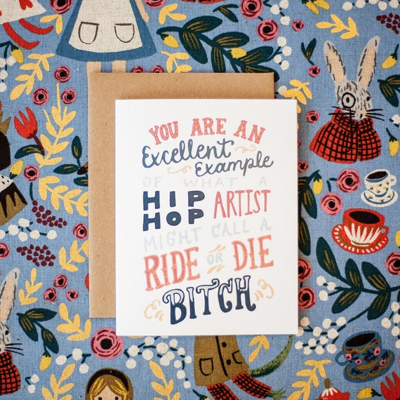 Ride or Die Best Friend Greeting Card (quote by Mindy Kaling)