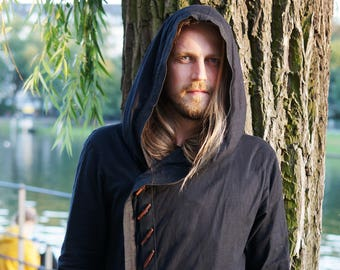 RUSKA - Light hooded bedouin jacket with unique wooden button / cotton linen c