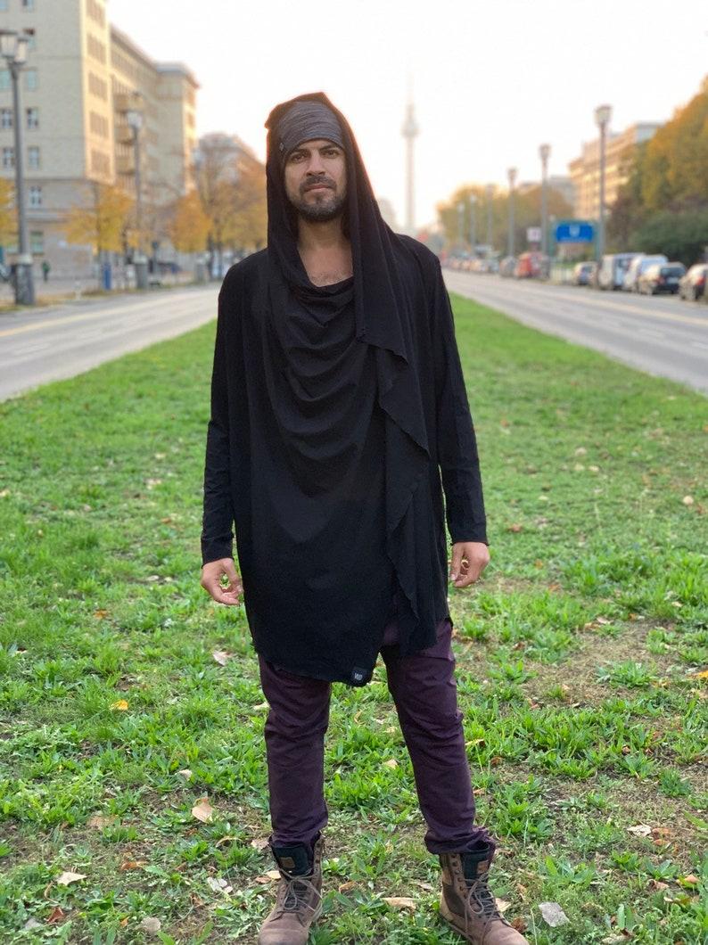 Long sleeve soft eco friendly bamboo multi-use hooded vest cardigan  Jedi cloak  unisex  long sleeve cape designer hoodie  burning man