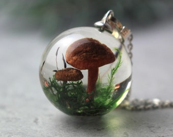 Real mushroom necklace on long silver chain, Resin orb necklace pendant with real moss, Miniature forest necklace, Nature lover gift