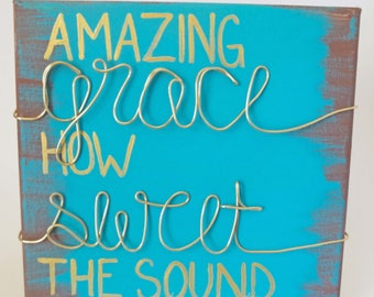 FREE SHIPPING* Wired Hymn Painting - Amazing Grace How Sweet the Sound