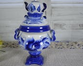 Ancient ceramic samovar made in the USSR. White and blue Russian paintings Gzhel, decorative collectibles 70-80s. a Christmas gift
